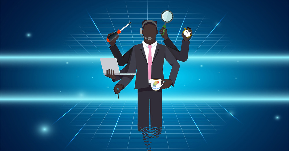 Animation of Correct Group engineer multi-tasking