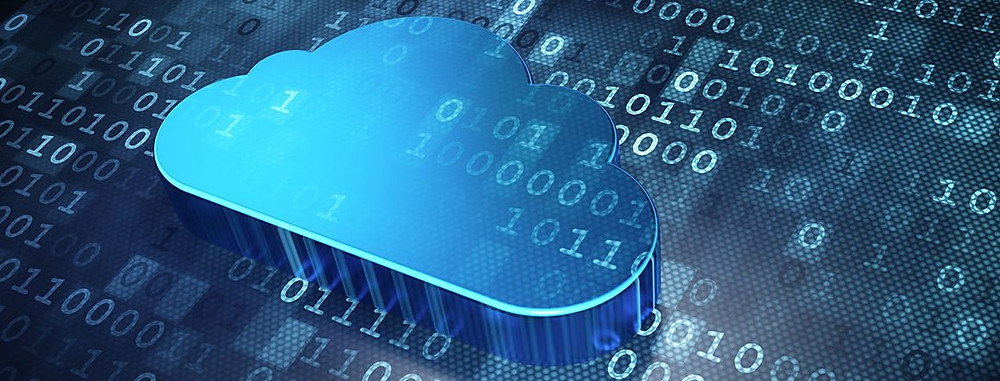 Cloud computing icon against a busy and technical background