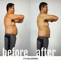 17 lbs down!!! To rival his wife's 15.2