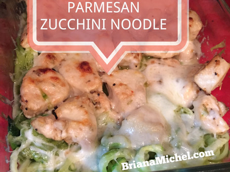 Pesto Parmesan Chicken on Zucchini Noodles