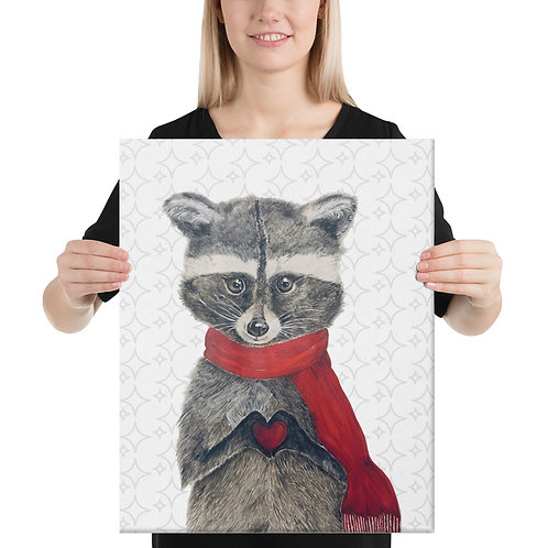 Bandit the Raccoon with grey background