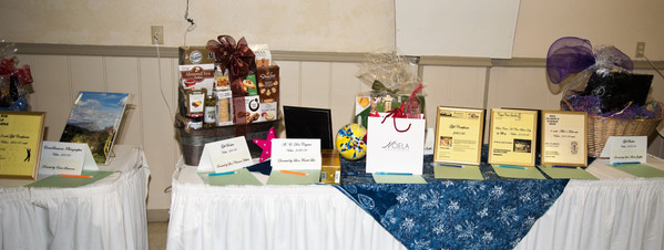 All the baskets and goodies for our Silent Auction.