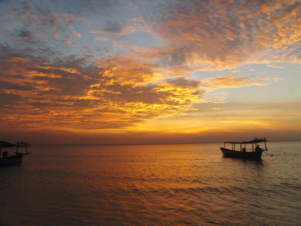 sunset koh rong island long beach