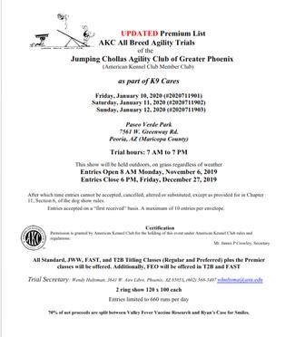 Jan. 2020 AKC Trials - Updated Premium