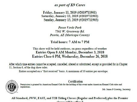 AKC Agility Trials - January 11- 13th 2019