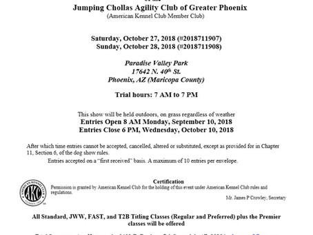 AKC Agility Trials - October 27- 28th