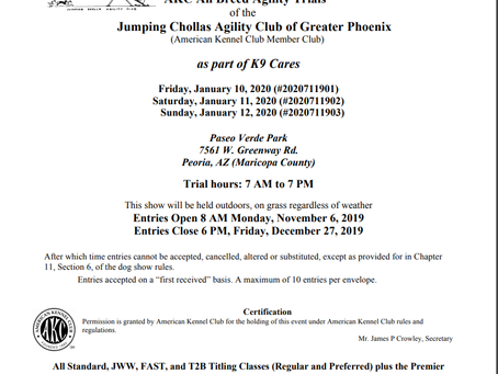 Jan. 2020 AKC Agility Trials