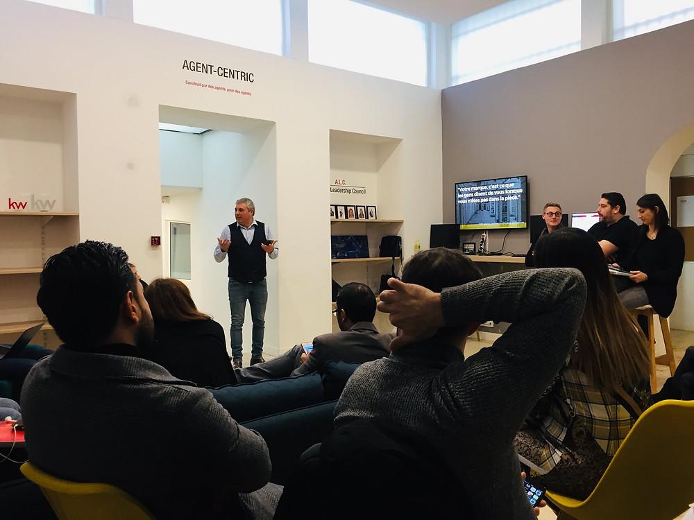Jean-Christophe DIMINO anime un atelier-communication sur le personnal branding chez Keller Williams Masséna à Nice