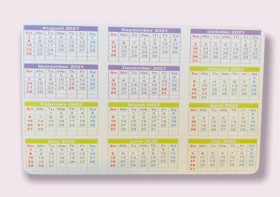 21-22 academic calendar card