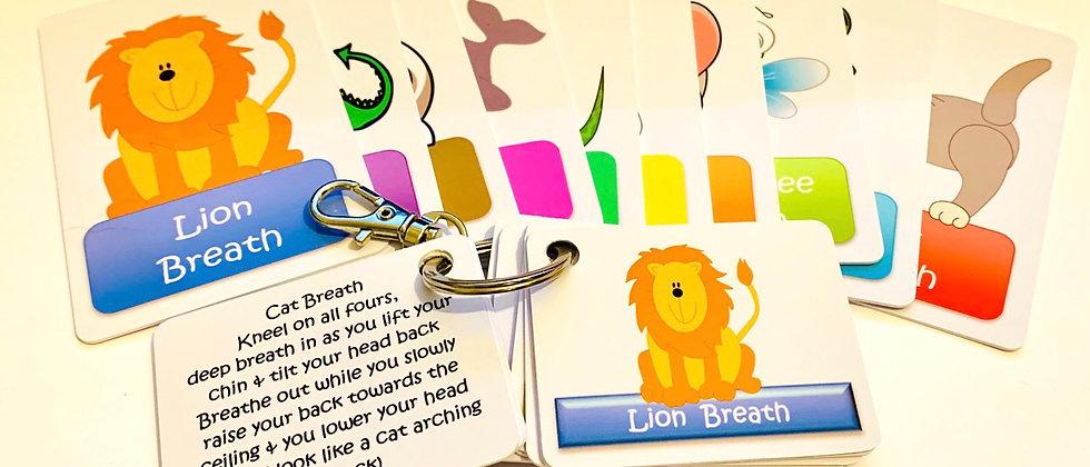 Animal Breathing Technique Cards & Key Fob set