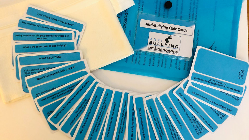 Anti-Bullying Quiz Card set , PowerPoint show & worksheets