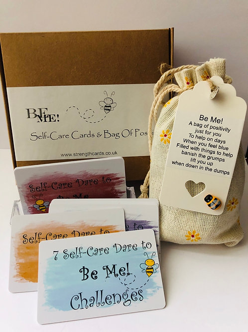 Be Me 🐝 Gift Box ~ Self Care Challenge Cards & Mini Bag of Positivity 🎁