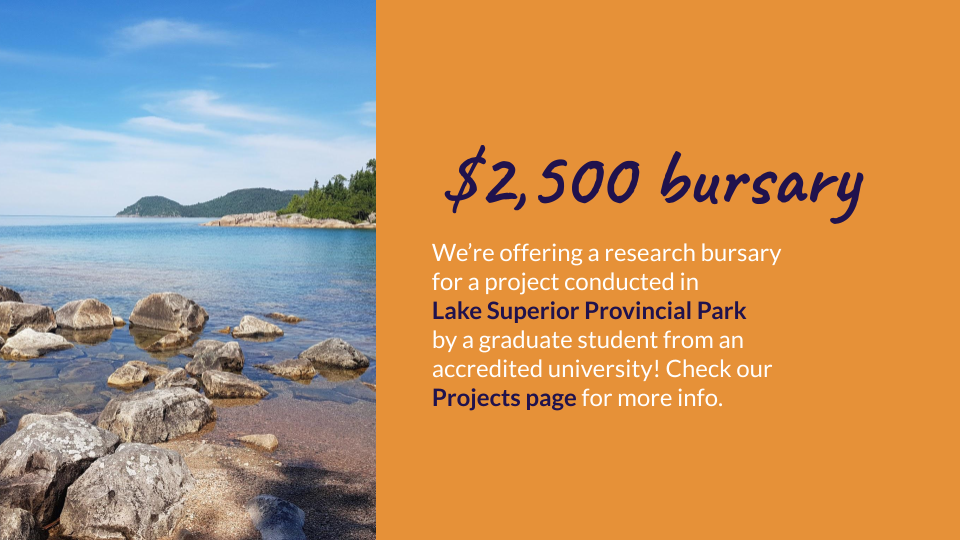 A photo of the Lake Superior coastline with curved, green hills in the distance and information about the research bursary as also stated below