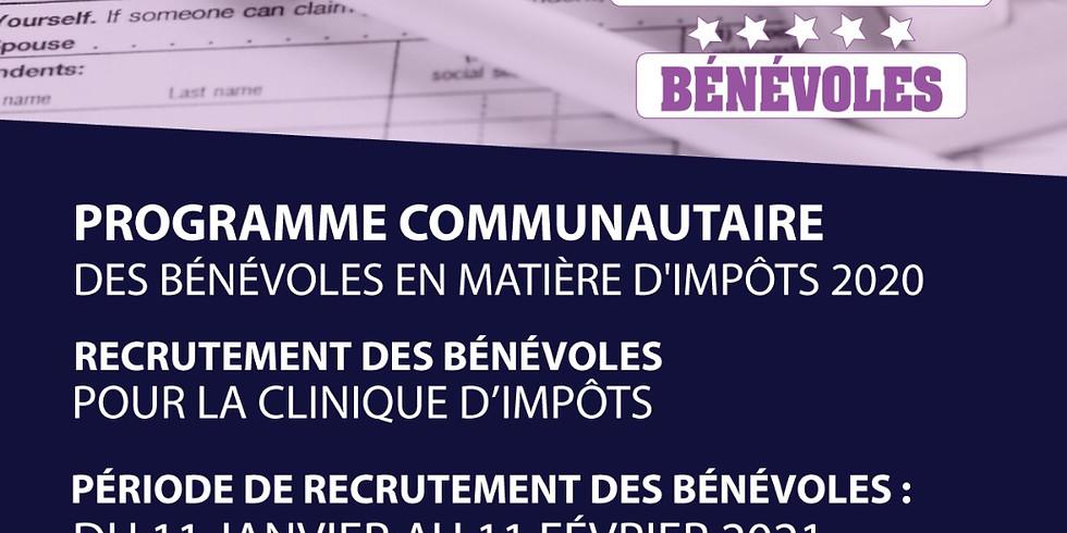RECRUTEMENT DE BÉNÉVOLES POUR LA CLINIQUE D'IMPOTS 2020