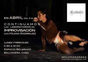 Laboratorio de Improvisación con Milena Rodriguez.