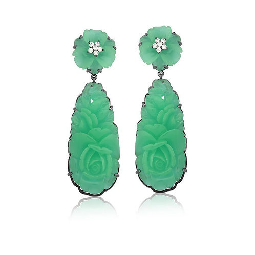 Brinco Baquelite Esculpido Verde