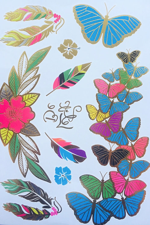 Cartela Rainbow Butterflies