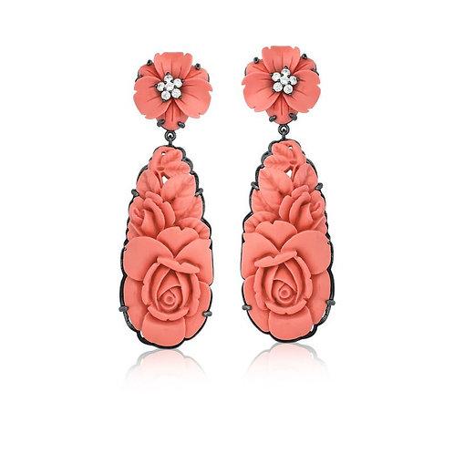 Brinco Baquelite Esculpido Coral
