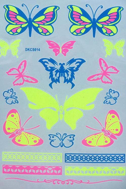 Cartela Neon Butterflies