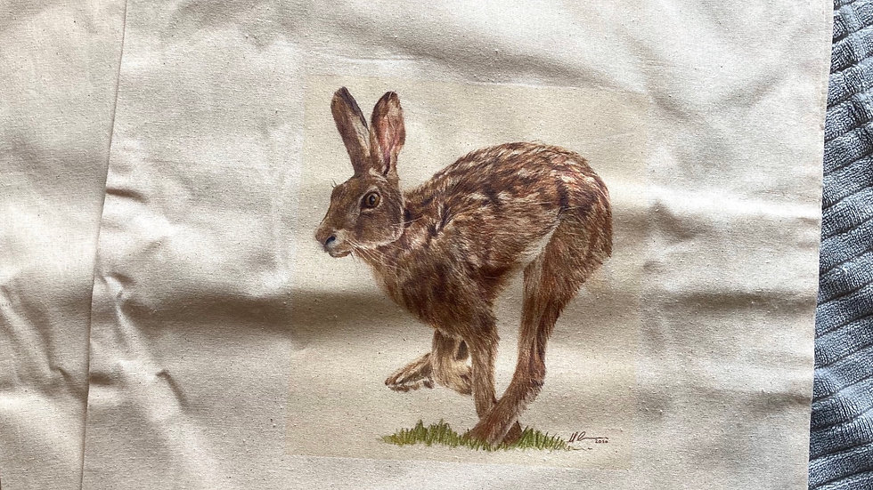 Running Hare - natural canvas bag