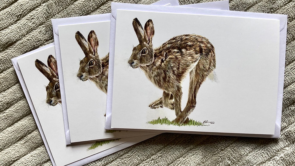 Running Hare - A6 greetings card