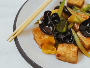 Tofu Puffs with Mushroom Sauce