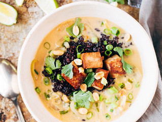 Ginger + Lemongrass Infused Thai Soup with Crispy Tofu and Wild Rice