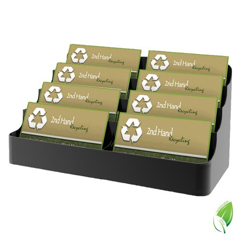 Recycled business card holder 8 pocket landscape display numerous business cards prominently using this 8 pocket recycled plastic business card holder colourmoves