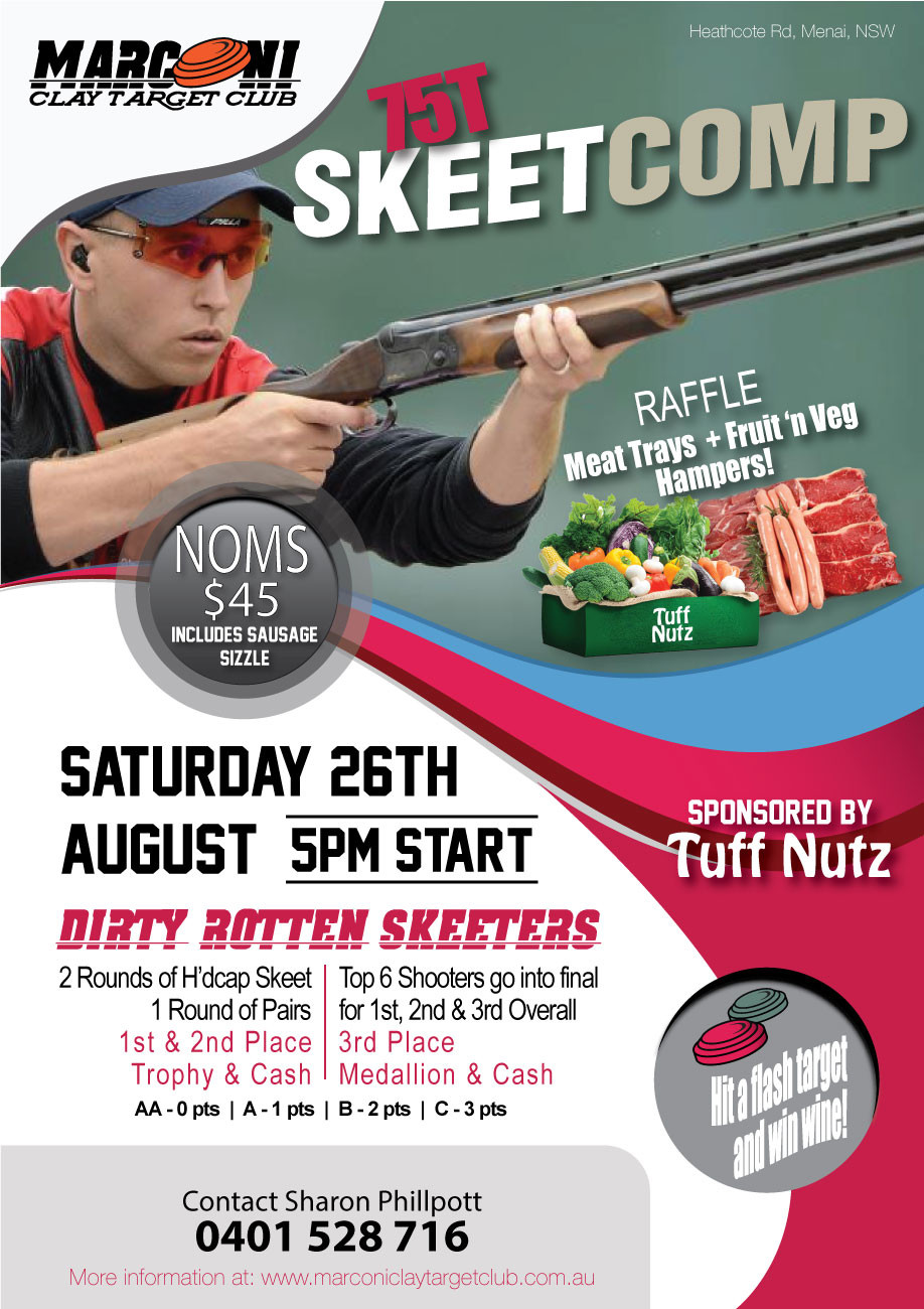 Not a moment to lose when it comes to the DRS.  The next scheduled 75T Skeet Competition is on Saturday 26th August 2017.  Sponsored by Tuff Nutz and Marconi Clay Target Club we look forwards to seeing you all again very soon.  Happy Shooting!