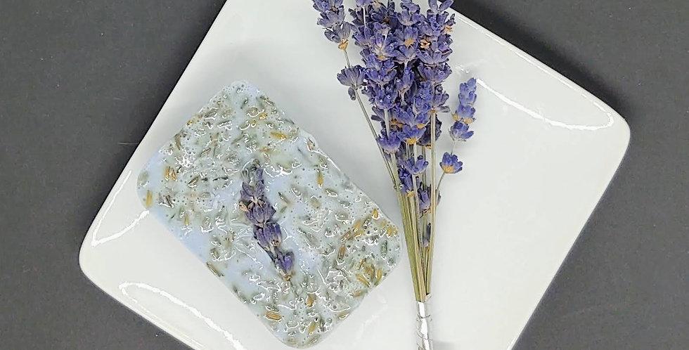 Organic goat milk Lavender soap w soap dish and sprigs of Lavender