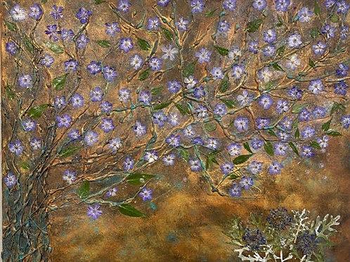 Vines of purple flower on canvas
