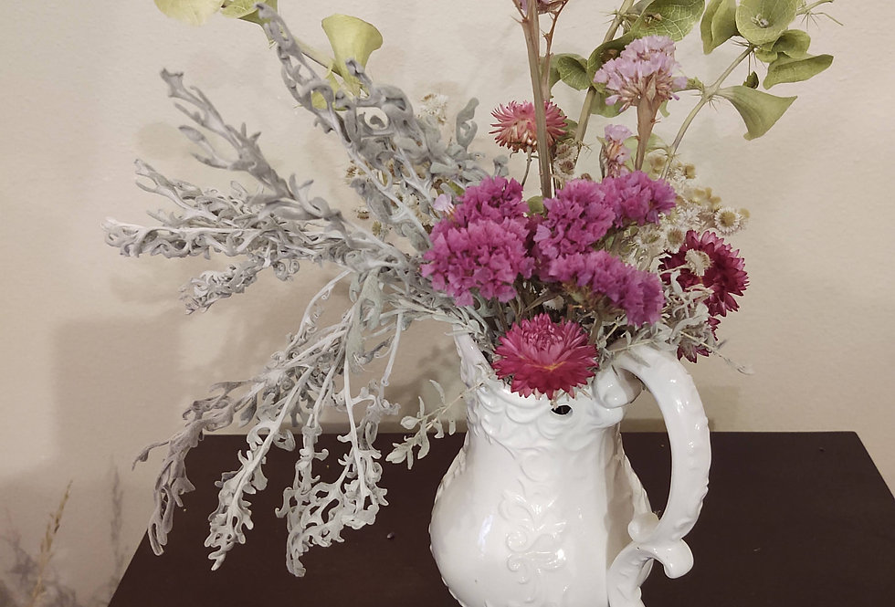 Delicate White Pitcher with dried flowers