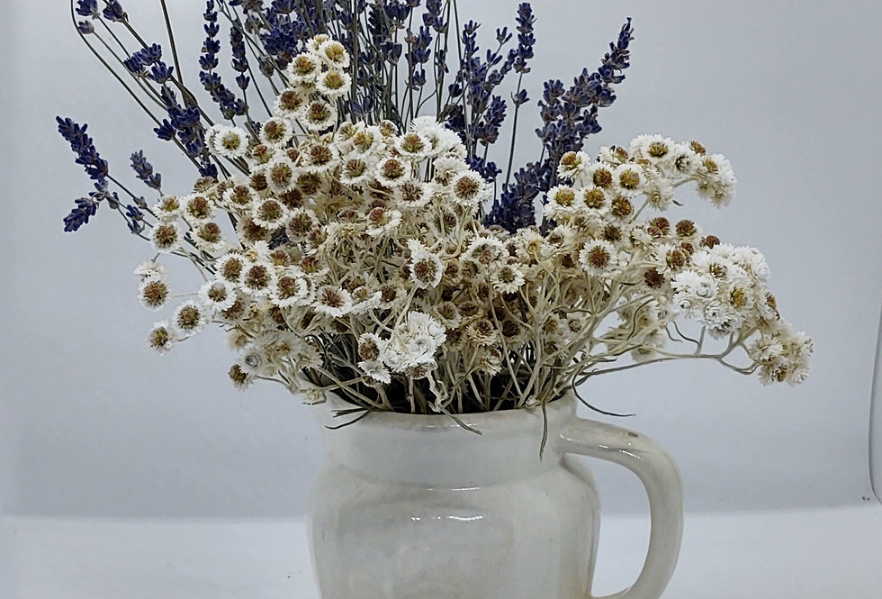 White cream pitcher /lavender and Pearly Whites