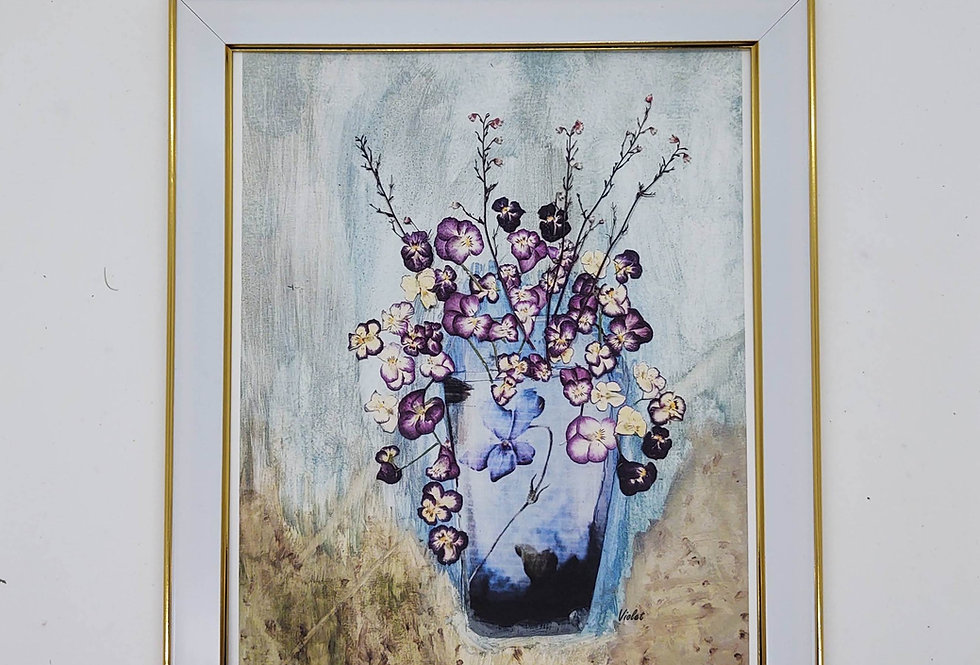 Copy of an original art piece using dried violets
