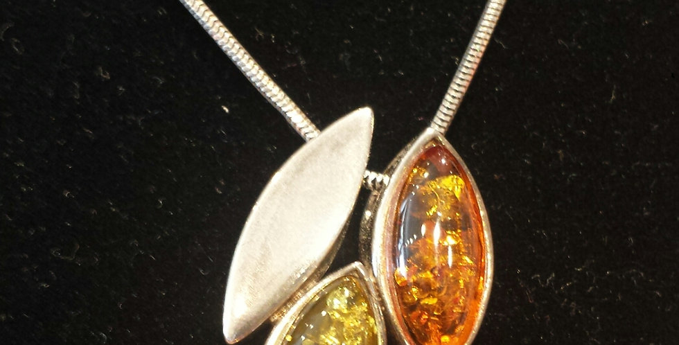 Vessel Mixed Baltic Amber and Sterling Silver Necklace