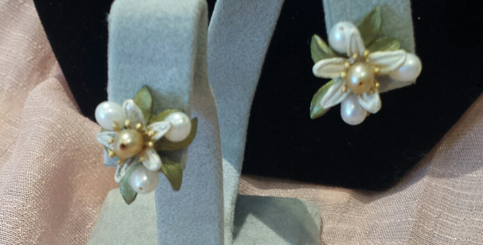 Orange Blosson Earring by Michael Michaud Design