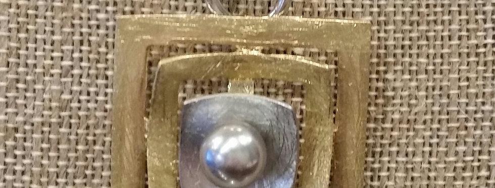 John Michael Richardson Multi-Strand Gold/SIlver Toned Square Pendant Necklace