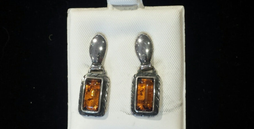 Vessel Baltic Amber and Sterling Silver Earrings