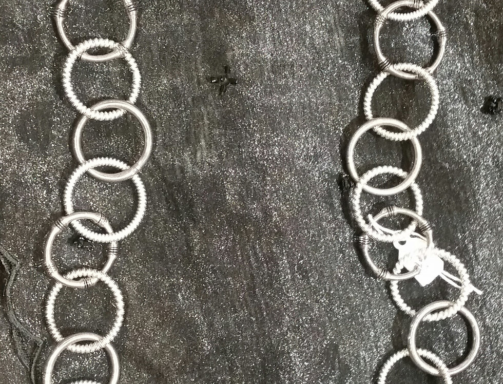 Sea Lily Silver & Slate Textured Multi Loop Long Necklace