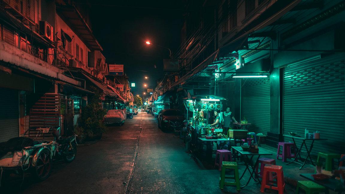 Color de la noche en Bangkok