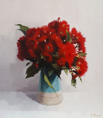 Red Eucalypt Blossoms 35x40 Oil on Canva
