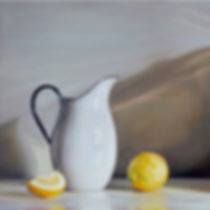 Still Life White Jug and Lemons Oil on C