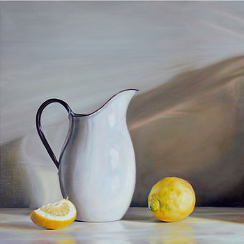 Still Life White Jug and Lemons Oil on C