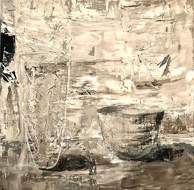 Karin Cutler: Acrylic on linen, white wood frame, 53cm x 53cm.