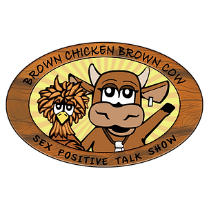 An oval with brown cartoon chicken and cow circled by the name of the show