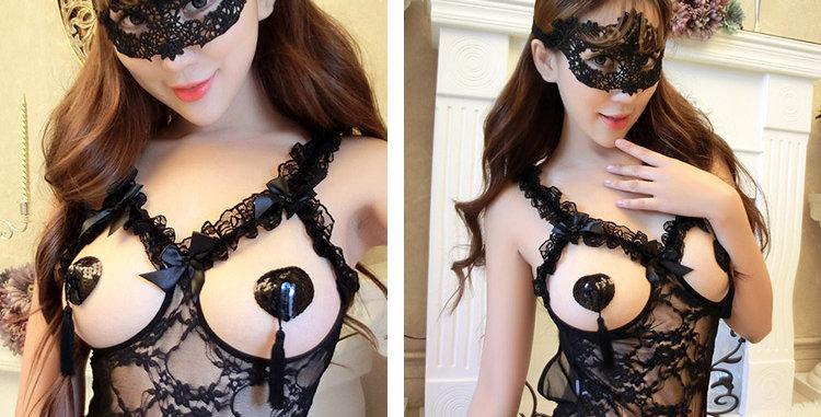 蕾丝镂空黑色眼罩女王面具