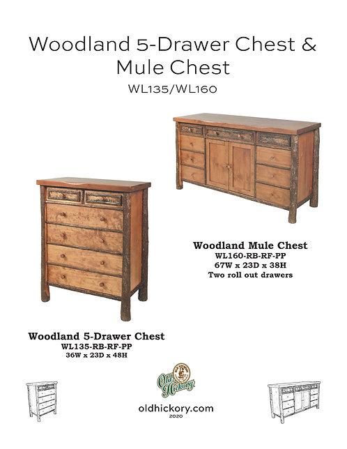 Woodland 5-Drawer Chest & Mule Chest - WL135/WL160