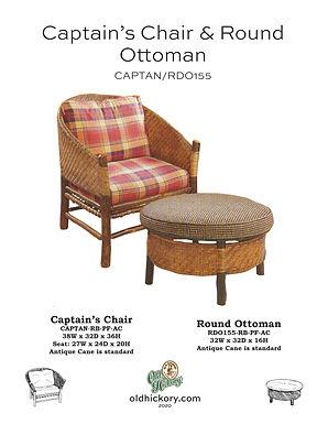 Captain Chair & Round Ottoman- CAPTAN/RDO155