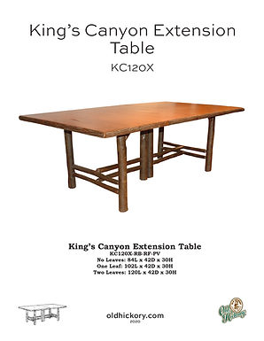 """King's Canyon Extension Table with Two 18"""" Leaves - KC120X"""