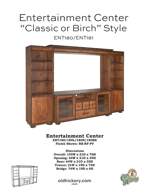 """Entertainment Center """"Classic or Birch"""" Style - ENT180/ENT181"""